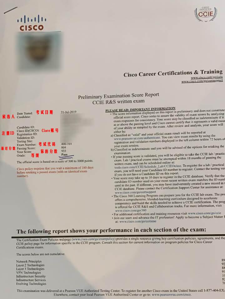 CCIE 纸质笔试成绩单(2019版样图)-59学习网